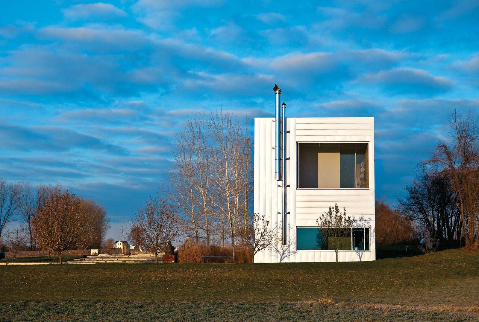 The exterior of the Field House, designed by Wendell Burnette Architects in Ellington, Wisconsin.  Photo 1 of 10 in An Architect References Local Architecture to Build a Modern Home