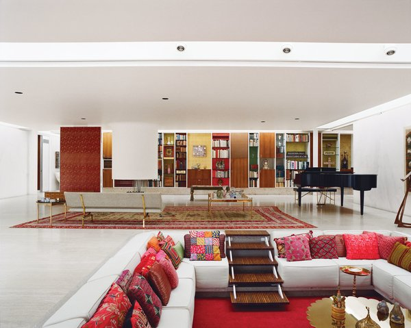 The custom-made sofa in the open-plan living area, with its brass back detail, was originally going to be an Eames Compact couch. But when its exposed back was deemed visually objectionable, Girard modified the piece to suit the room. Photo 3 of Miller House in Columbus, Indiana by Eero Saarinen modern home
