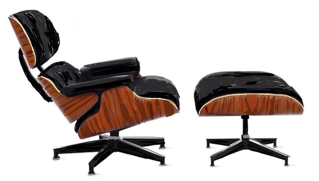 The smooth curves of molded plywood on the Eames Lounge and Ottoman were unprecedented in furniture design at the time.  Photo 1 of 10 in The History Behind America's Favorite Chair: The Eames Lounge and Ottoman