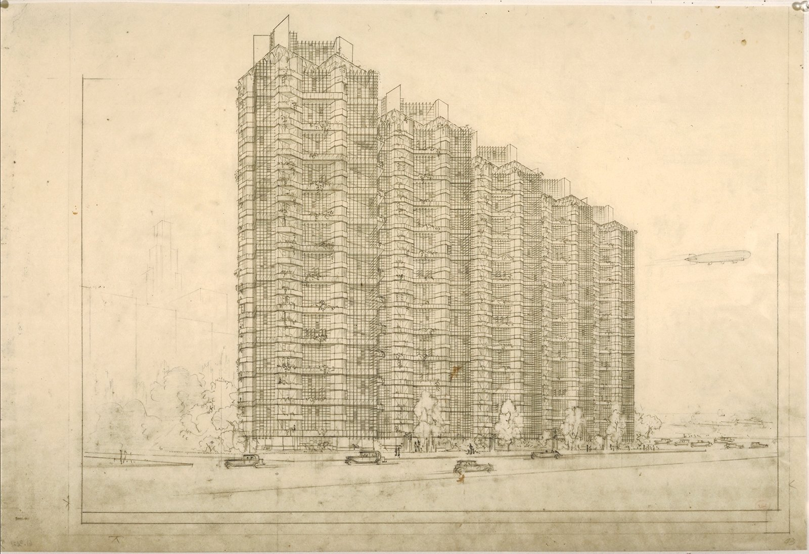 Although the Price Tower is Wright's only realized skyscraper, the rendering of the Grouped Towers in Chicago portrays similar themes of lightness and balance. The Frank Lloyd Wright Foundation Archives (The Museum of Modern Art | Avery Architectural & Fine Arts Library, Columbia University, New York).  Modern Master: Frank Lloyd Wright by Matthew Keeshin from The Museum of Modern Art: Frank Lloyd Wright Exhibition