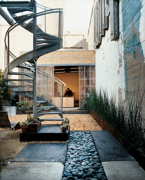 A spiral staircase descends from the glass deck to the rain garden, which replaced a concrete pad.