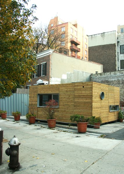 The sleek 320-square-foot MEKA home, designed by Jason Halter and Christos Marcopoulous, when it was set up in New York. The home is made of cedar paneling, set over a steel shipping container.