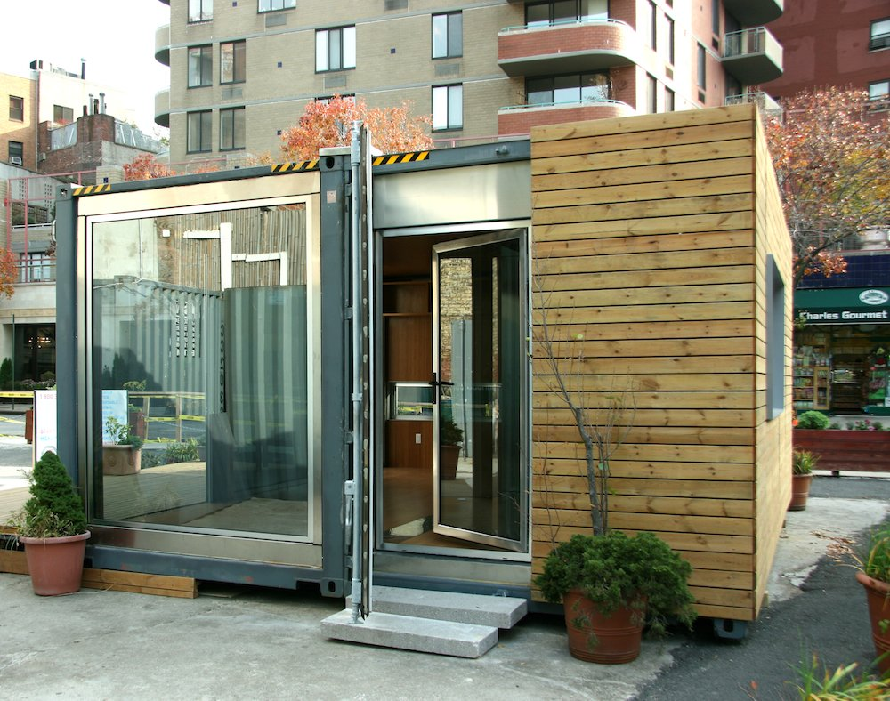 This shipping container prefab, built out of 70 percent recycled material, cost just $100 per square foot. It showcases a doubled glazed argon-filled window, which lets in light.