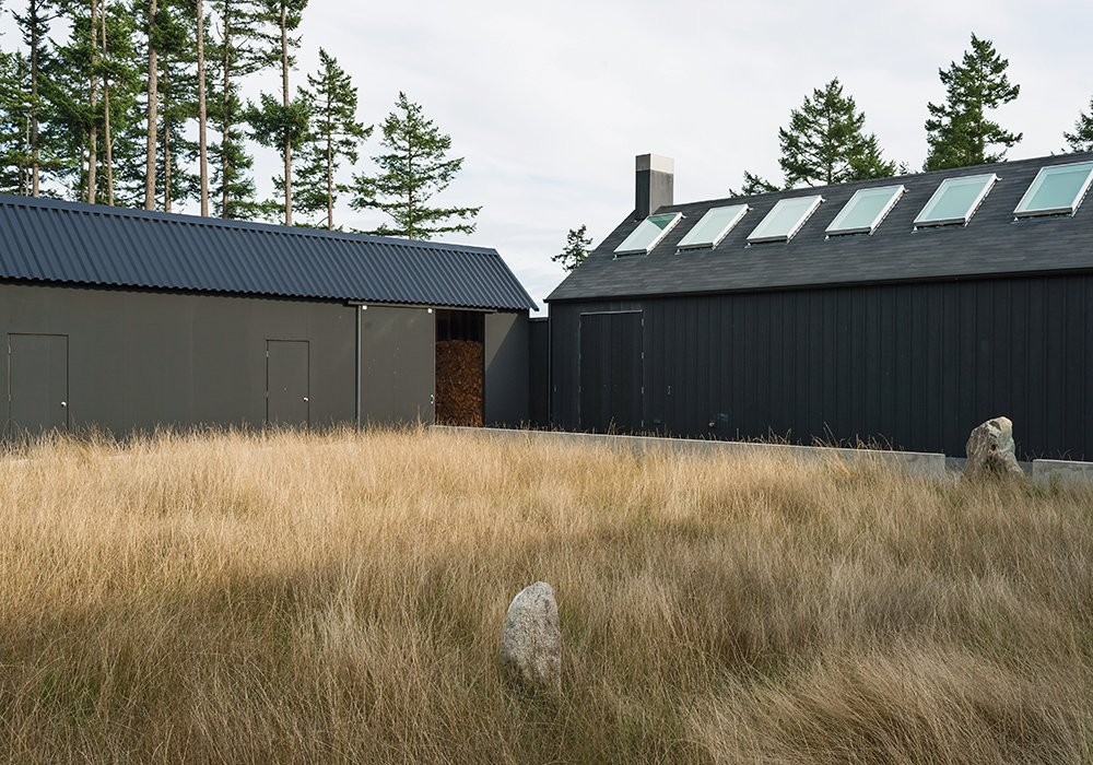 Linden specified a black stain from Cabot for the house's exterior. The shade draws on Scandinavian and Japanese building traditions and helps the structure blend into the landscape. Native grasses populate the courtyard.