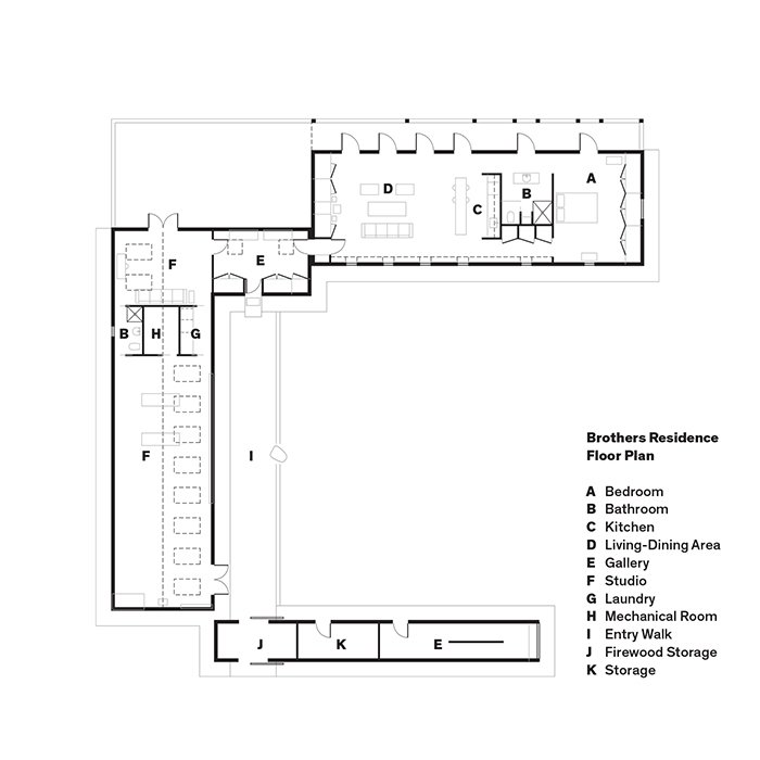 Brothers Residence Floor Plan  A    Bedroom  B    Bathroom  C    Kitchen  D    Living-Dining Area  E    Gallery  F    Studio  G    Laundry  H    Mechanical Room  I    Entry Walk  J    Firewood Storage  K    Storage  Photo 18 of 18 in Idyllic Home Designed for an Artist