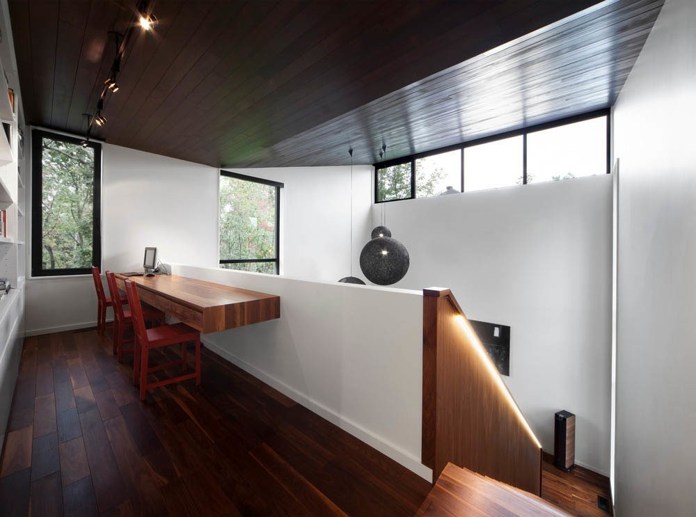 Cedar ceilings give the interior a warm, outdoorsy feel.  Photo 4 of 7 in Near Montreal, a House Connects With Its Surroundings