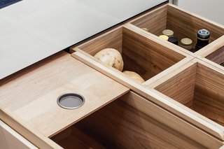 A Sleek Kitchen Renovation in San Francisco - Photo 3 of 5 - The residents store perishable items that don't need refrigeration—like fruits, vegetables, onions, and garlic—in maple-lined pantry drawers.