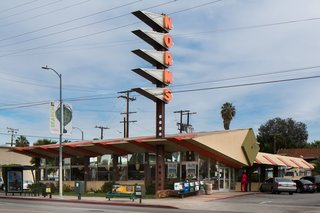 Los Angeles Cultural Heritage Commission Votes to Save Googie Design at Norms - Photo 1 of 1 - An original Googie-style building, Norms La Cienega, in Los Angeles, circa 2011.