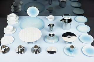 The Brightly Colored World of Designers Scholten & Baijings - Photo 5 of 9 - Tea with Georg is a 2013 collaboration that Scholten & Baijings did with revered Danish silversmith Georg Jensen. The collection combines old craft techniques (hand metalwork, fine surface finish) with digital design (gradients and grids applied as pattern on porcelain and etched onto stainless steel).