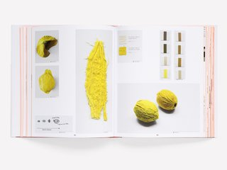 "The Brightly Colored World of Designers Scholten & Baijings - Photo 6 of 9 - Tests for dried and embroidered lemon skins for Scholten & Baijings's Vegetable series from 2009. These ""hyper-realistic, ingenious translations"" mimic the texture of vegetables through fabric and embroidery."