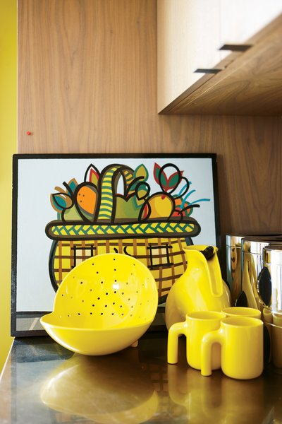 Shopping Mall Fruit Basket, a painting by Peter B. Hastings, shares space with a special-edition Royal Copenhagen tea set and a photograph by Tokyo-based artist Keith Ng.