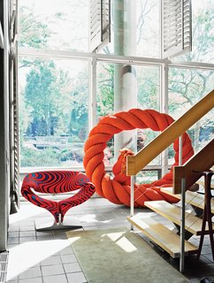 Q&A with Textile Designer Jack Lenor Larsen - Photo 12 of 12 - The ground floor of the house opens up to a three-story atrium and hosts a few pieces from Larsen's wide-ranging collections, like a rope sculpture by Mariyo Yagi.