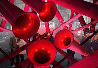Brooklyn Design Studio Wins Annual Times Square Heart Competition - Photo 2 of 2 - The tubes are actually periscopes that connect the viewer with up to four ideal astrological matches. Photo courtesy of Young Projects.