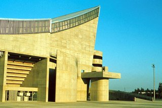 Saddam Hussein Gymnasium in the Le Corbusier-designed Sports Complex in Baghdad, view to main entrance.
