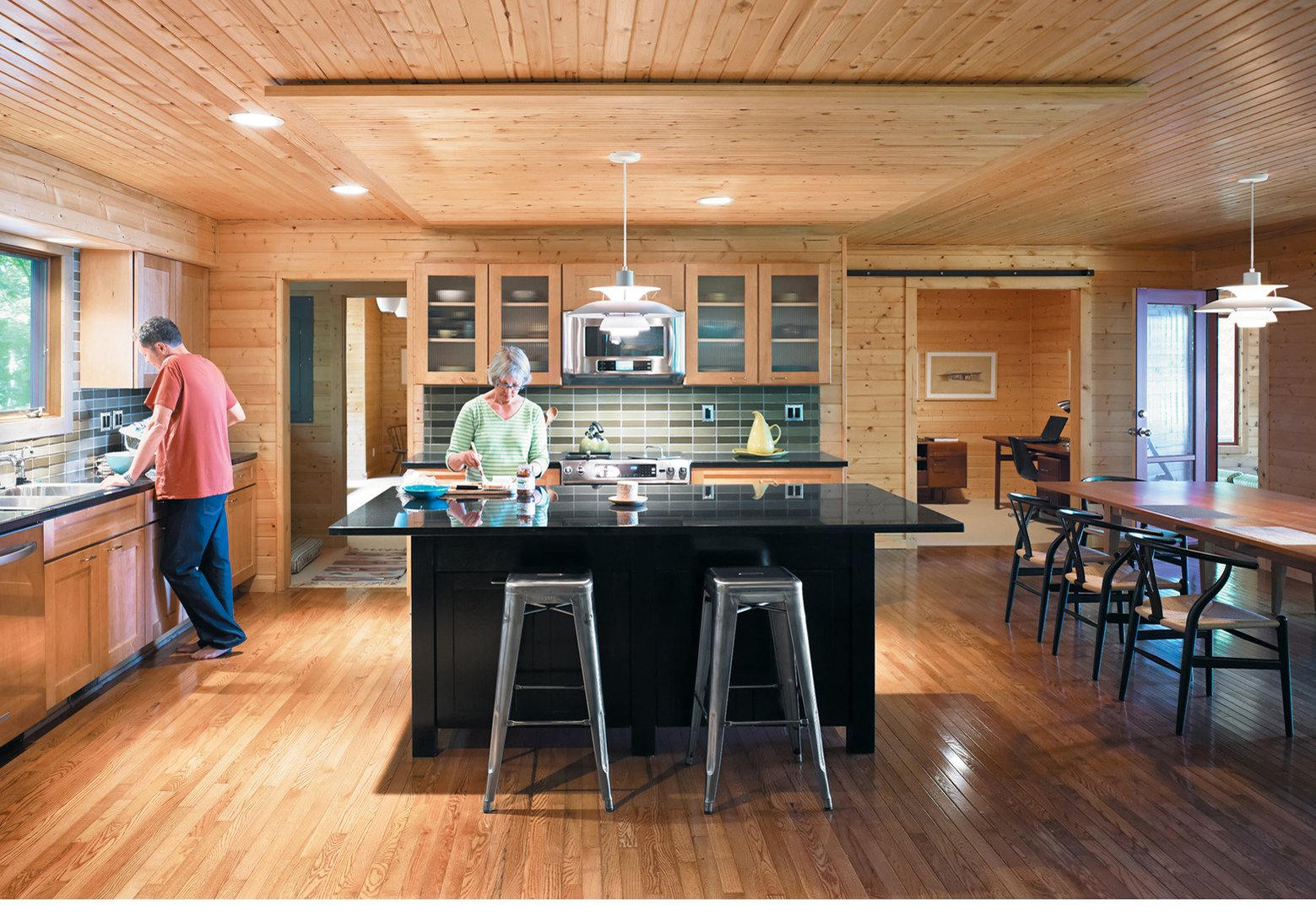 A Ranch House Kitchen RenovationFor their   lakeside retreat in northwestern Michigan, Keith and Mary Campbell renovated a 1970s ranch house to include a spacious kitchen-dining room.  Kitchen by Jamel from A Ranch House Kitchen Renovation