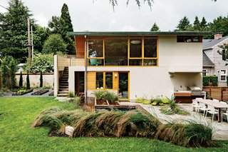 8 Modern In-Law Units - Photo 13 of 16 - This ADU serves as a guest house/yoga studio and sits over an existing garage. Fusion Landscape Design worked with PATH to remake the backyard into a grown-up playground. Under the stairwell sits a tiny custom cedar sauna and an outdoor shower—just a literal hop, skip, and jump away from the sprawling in-ground eight-by-ten-foot hot tub.