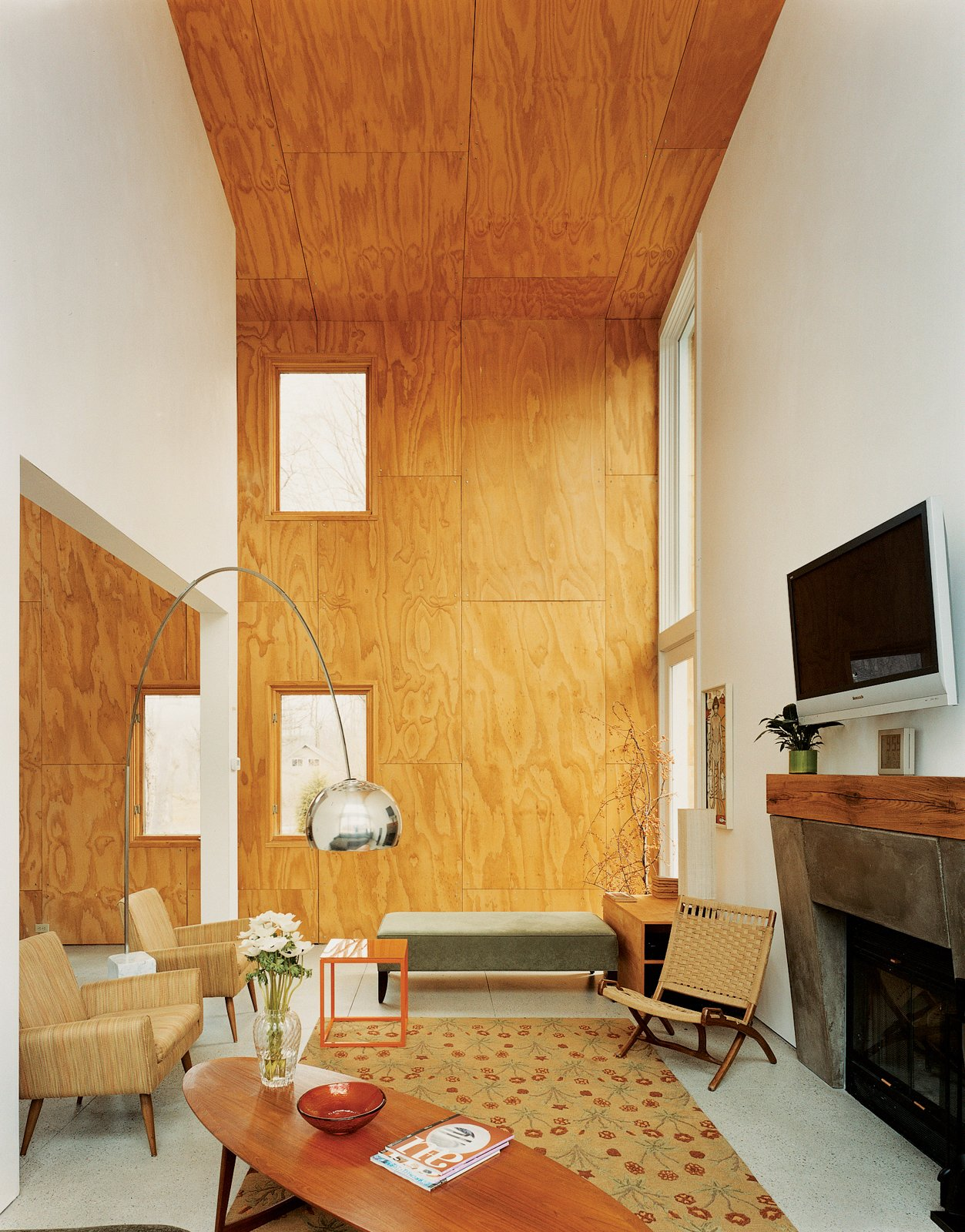 The double-height living area features unfinished plywood cladding.