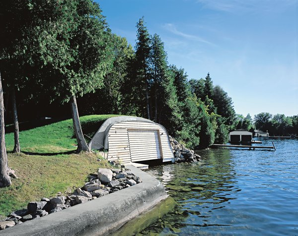 View of the boathouse from the lake.