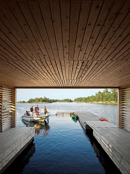 The view from inside the Floating House's boat dock.