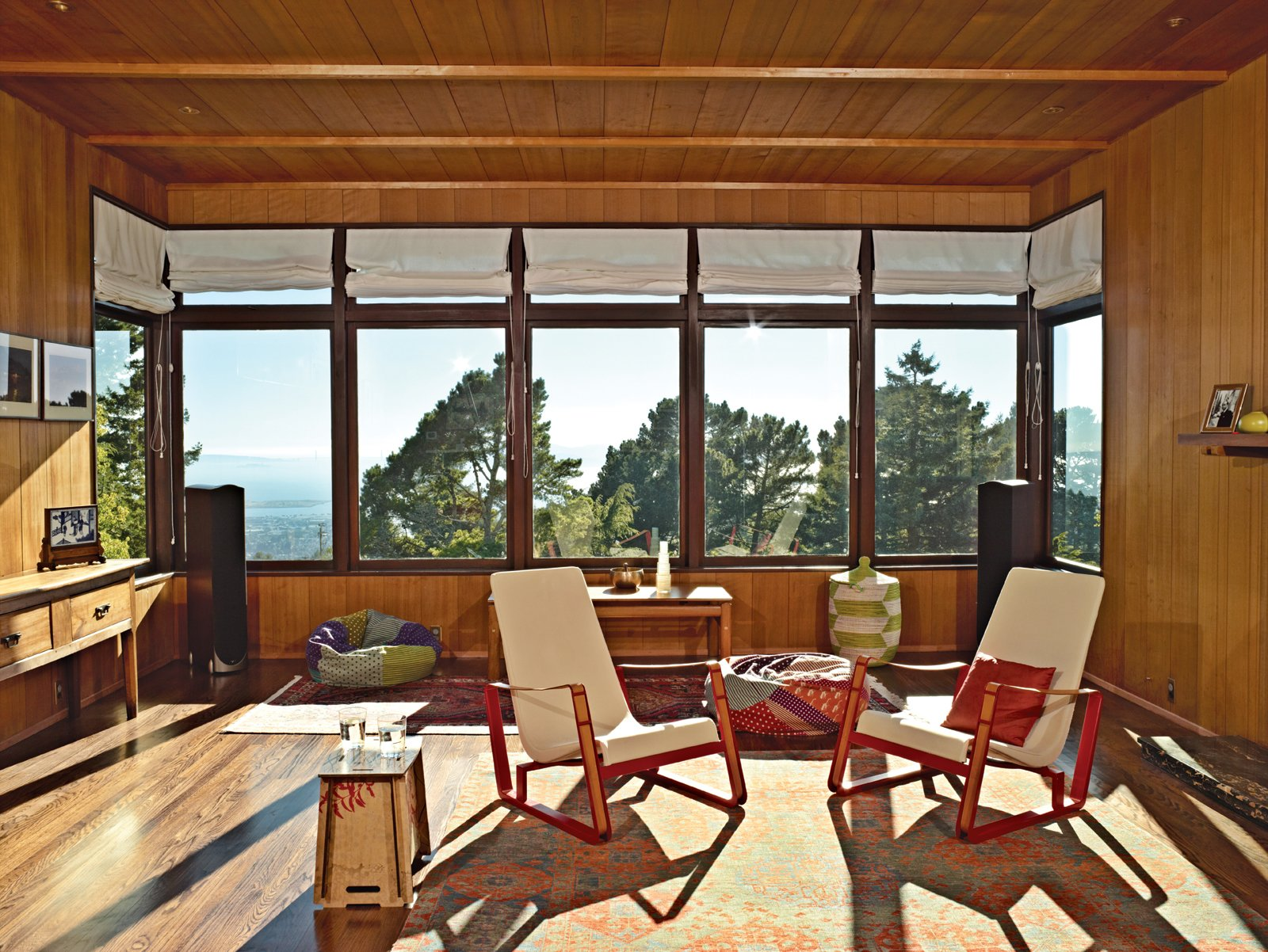 Elsewhere in the room, which Esherick sited to maximize views, are Jean Prouvé Cité chairs.  Midcentury Homes by Dwell from A Modern Prefab Addition to a Mid-Century California Classic