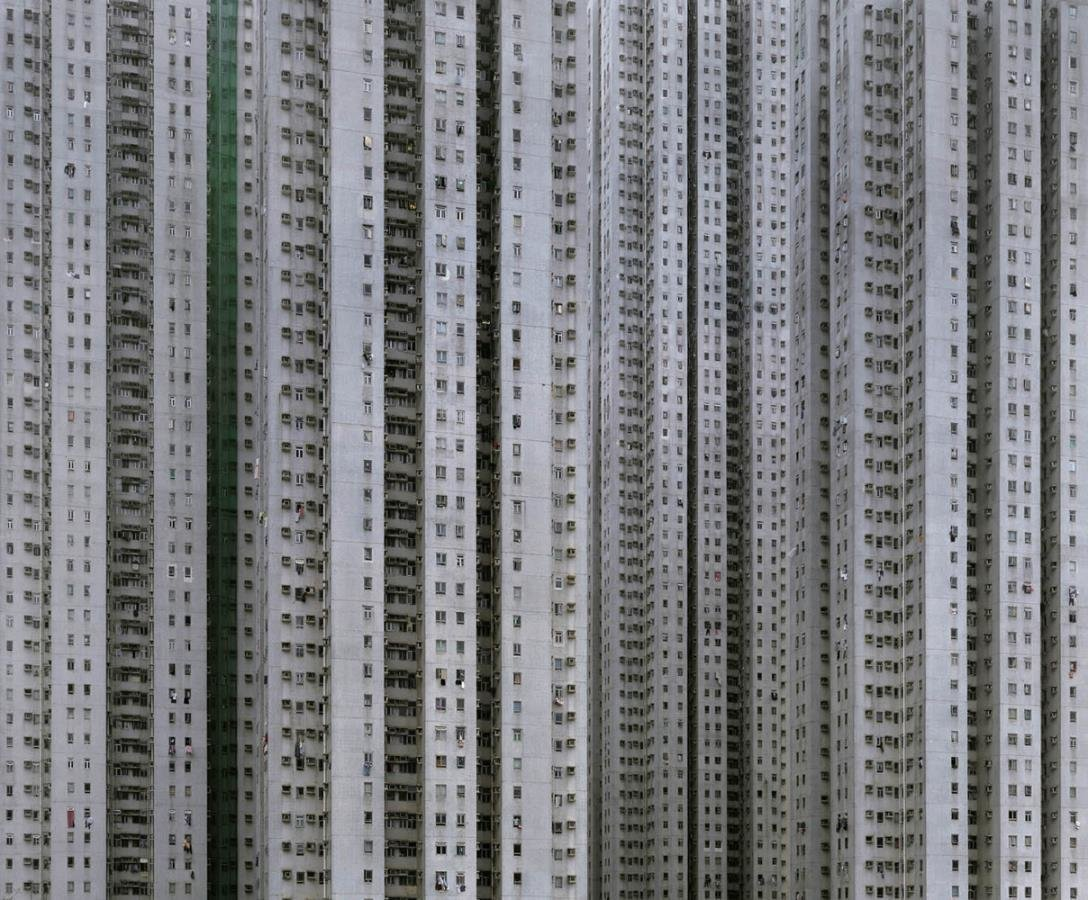 "Cropping the sky and horizons out of the images gives the buildings the illusion of what Wolf calls ""unlimited size""—the possibility that they could be more than 100 stories tall, and perhaps a mile or more long. Photo by Michael Wolf, courtesy of the Flowers Gallery.  Photo 4 of 7 in Megacity Living in Hong Kong: Architecture of Density"