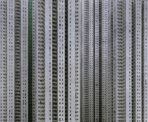 """Cropping the sky and horizons out of the images gives the buildings the illusion of what Wolf calls """"unlimited size""""—the possibility that they could be more than 100 stories tall, and perhaps a mile or more long. Photo by Michael Wolf, courtesy of the Flowers Gallery."""