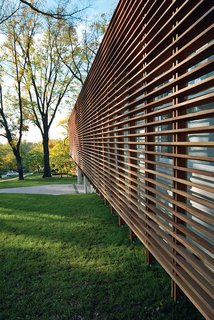 Contemporary Kansas Home with Wood Slatted Exterior Screen - Photo 2 of 2 - Photo by: Dan Rockhill