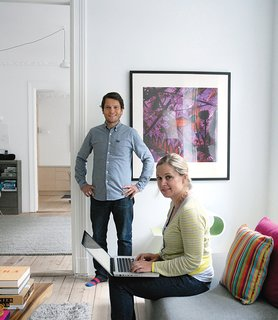Budget-Friendly Renovation of a Neoclassical Home in Oslo - Photo 8 of 11 - Casper and Lexie Mork-Ulnes in their newly renovated home.