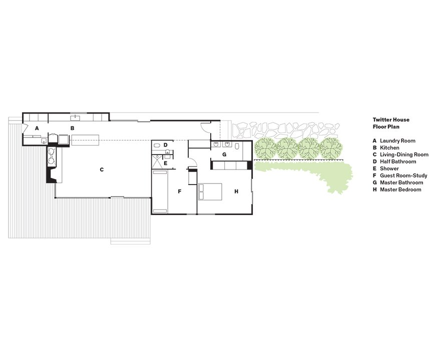 Twitter House Floor Plan  A    Laundry Room  B    Kitchen  C    Living-Dining Room  D    Half Bathroom  E    Shower  F    Guest Room-Study   G    Master Bathroom  H    Master Bedroom