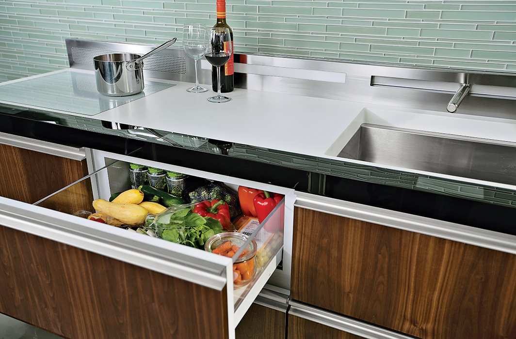 All pieces hit the standard countertop height of 36 inches and run 24 inches across, narrower than the standard appliance width of 30 inches.  Photo 3 of 4 in Clever Concept Tackles Movement Toward Smaller Kitchens