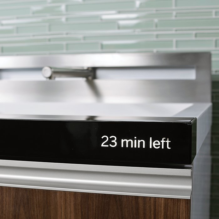 Due out in late 2014, the mini-kitchen costs between $7,000 and $15,000, depending on features. Users can swap out standard technologies for pricier ones, such as an induction cooktop and Advantium Speedcook oven.