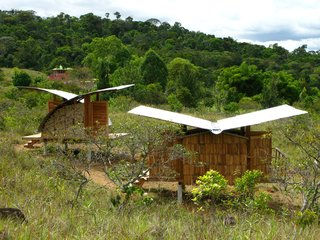 Venezuela's Eco Cabanas - Photo 5 of 13 - Two housing models perch lightly in a field, both featuring gently curved, rainwater-catching butterfly roofloines.