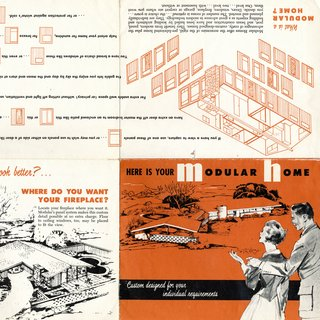 A brochure promotes the benefits of the modular housing offered in Ridgewood, the subdivision that Ralph and Mary Jane Fournier designed in Crestwood, Missouri. Image courtesy of Maryville University.