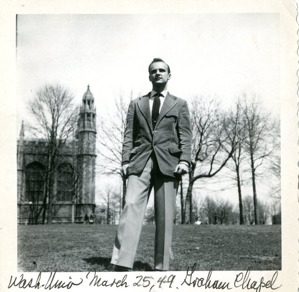 Ralph Fournier outside Graham Chapel on the campus of Washington University in St. Louis, 1949. Image courtesy of Maryville University.