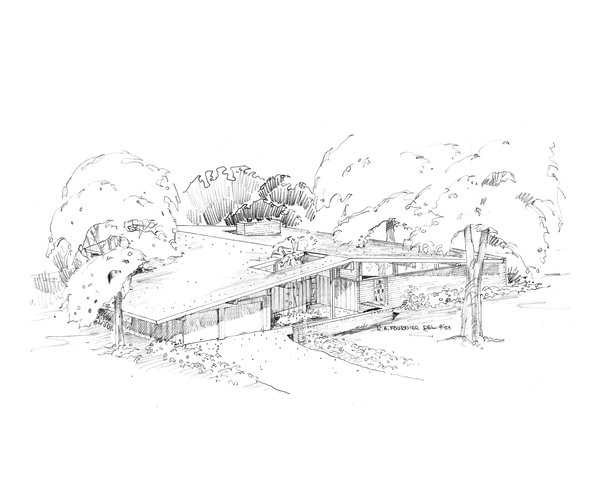 A Ralph Fournier sketch for the Harwood Hills neighborhood in Des Peres, Missouri, west of St. Louis. Image courtesy of Maryville University.