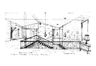 An interior sketch, with pendant lamps, by Ralph Fournier. Image courtesy of Maryville University.