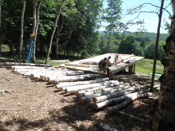 The Birch Pavilion under construction. Photo courtesy of Moskow Linn Architects.