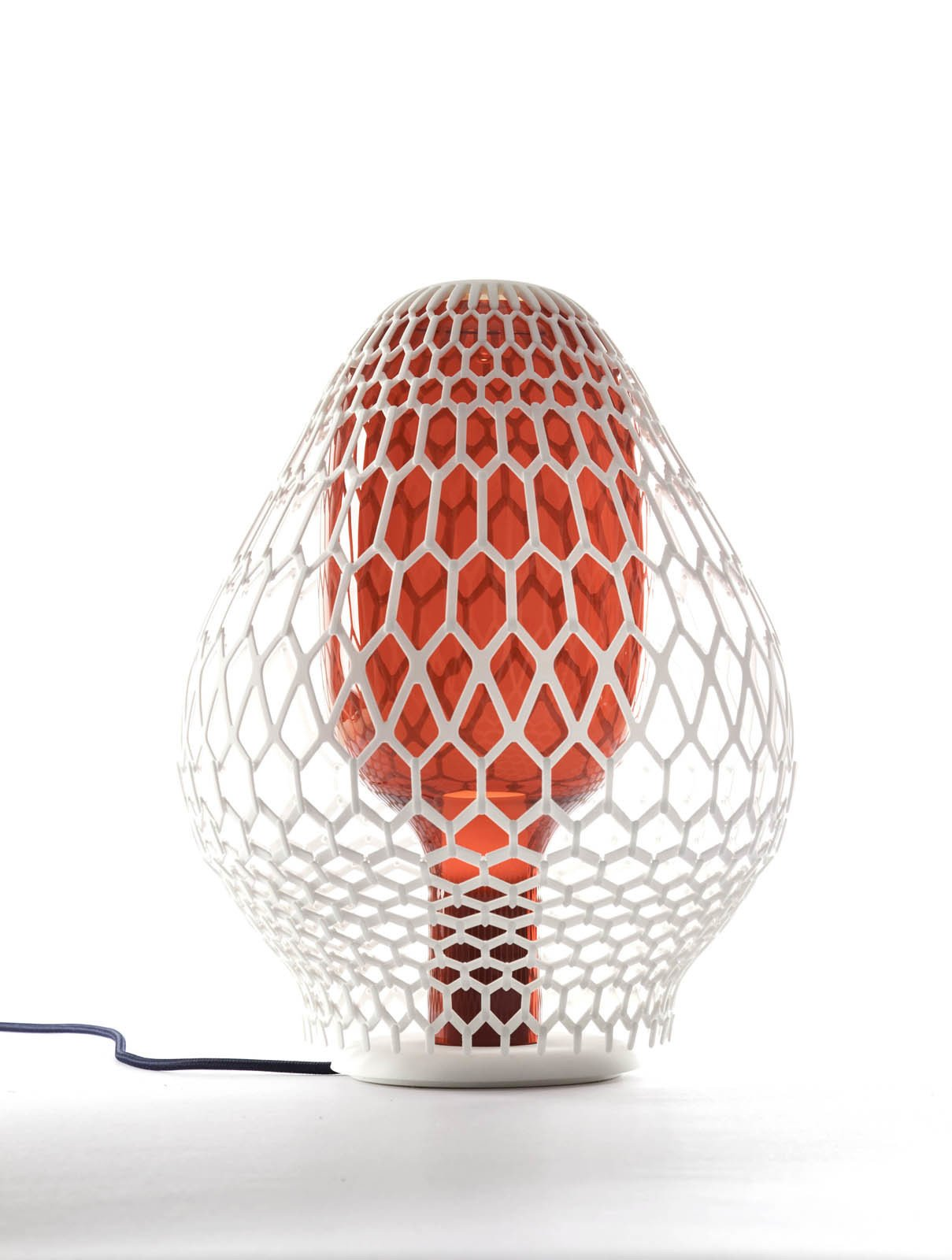 Rhizaria, also by Lanzavecchia + Wai, features a mouth-blown Murano glass shade enclosed in a 3D-printed lattice.  3D Printed Lighting by Exnovo by Diana Budds