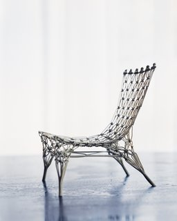 Marcel Wanders - Photo 9 of 11 - This Knotted chair (1996) is a 1:6 model version, produced by Vitra, and is only a few inches high. Its larger relatives—produced by Cappellini—have already found their way into a number of museum collections.