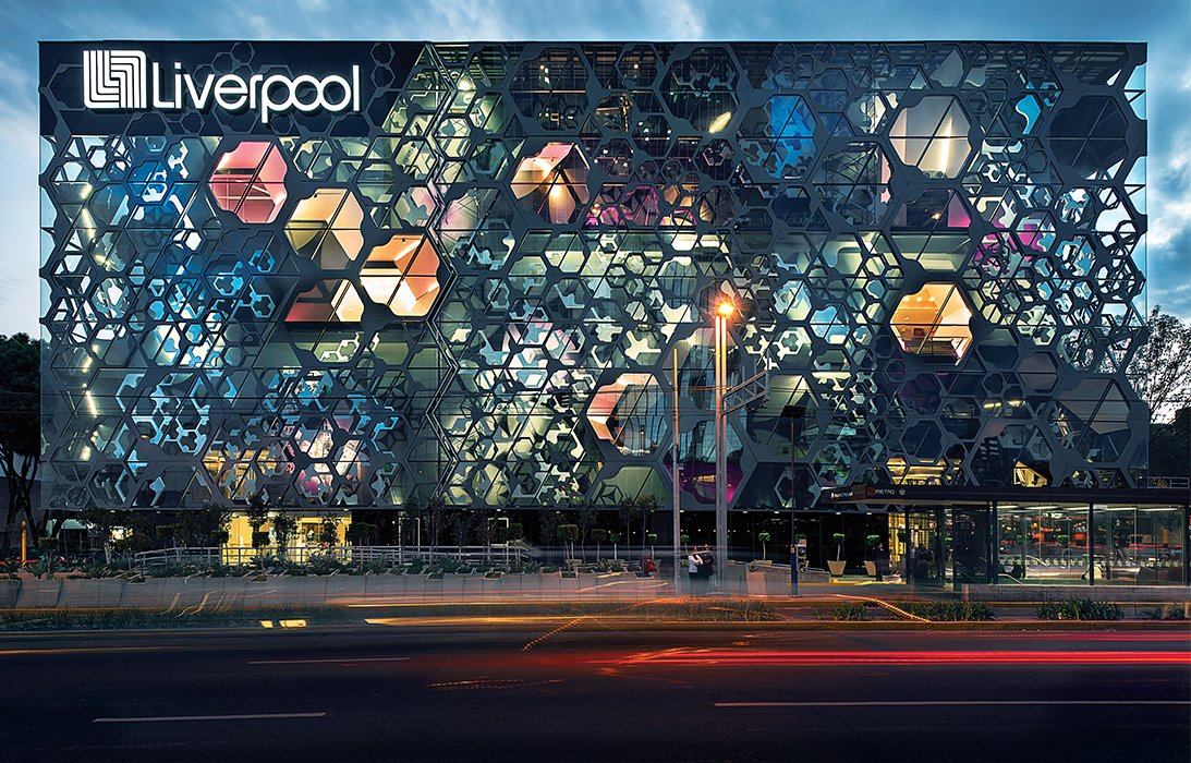 The firm punctured the facade of a Liverpool department store in Mexico City that opened in 2013, creating hexagonal apertures among the layers of aluminum, steel, and fiberglass.
