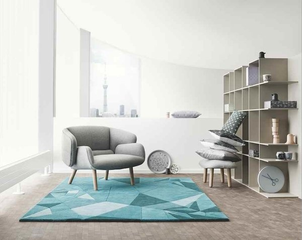 Oki Sato of Nendo says origami was one of the inspirations for the fusion line, an influence that can be seen in the rug. Photo courtesy of BoConcept.