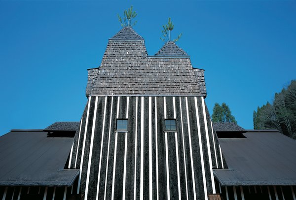 Architecture and nature combine in many of Fujimori's projects: the Lamune Hot Spring House appears to be built around two pine trees, with their spires poking out from the roof.