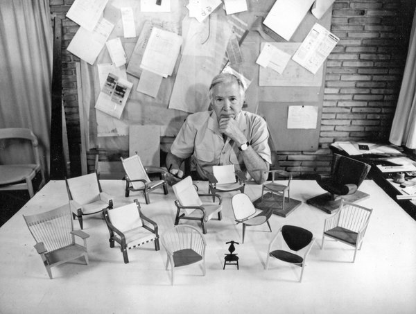 Danish furniture designer Hans Wegner in his studio. Photo courtesy PP MØBLER.
