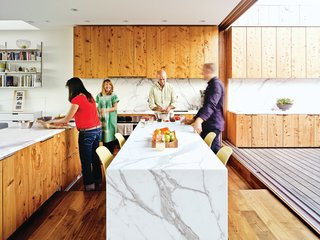 10 Modern Examples That Show How to Use Marble in the Kitchen - Photo 4 of 11 - The kitchen is beautifully textured and veined thanks to white Carrara marble countertops installed by New Marble Company and reclaimed cypress cabinets built by Wayne Berger.