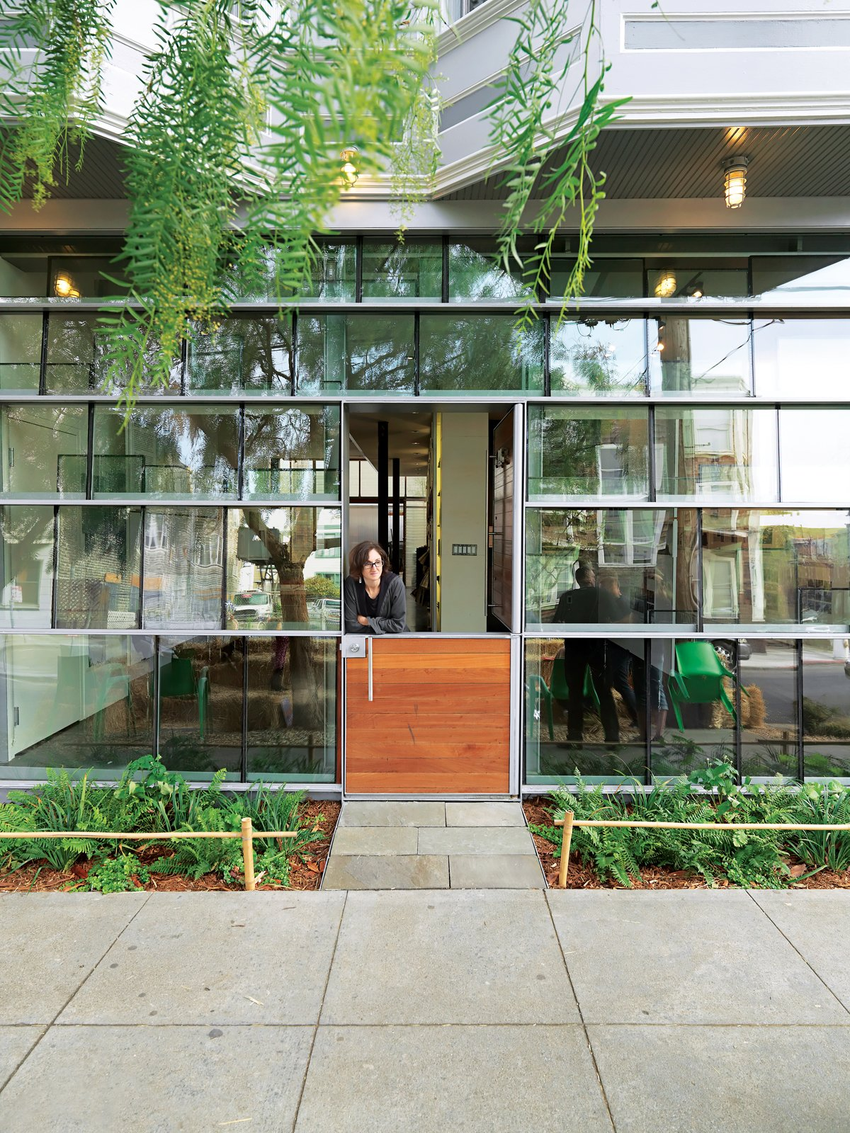 Dunbar and Astrakhan's low-cost, high-impact tour de force is a storefront facade constructed from salvaged double-insulated window glass panels arranged in a shingle pattern.
