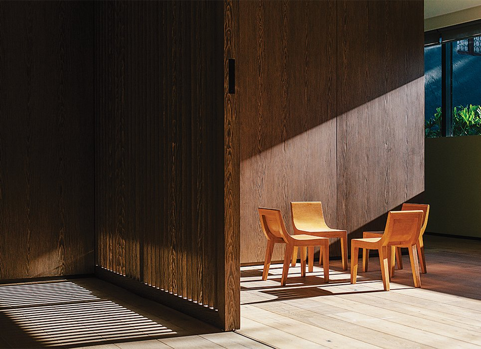 Chairs in the second-floor playroom are by Lievore Altherr Molina for Andreu World. Oak sliding doors can close off the playroom to minimize din. Tagged: Kids Room and Playroom.  Photo 6 of 15 in A Lush Retreat With a Sheltered Rooftop Pool in Mexico City