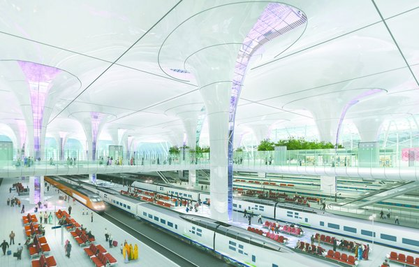 A rendering of Farrells' design for a new multi-modal rail station in Delhi, India, which is being built to handle 272 trains and 500,000 passengers per day. Image copyright Farrells, courtesy of the Royal Institute for British Architects.