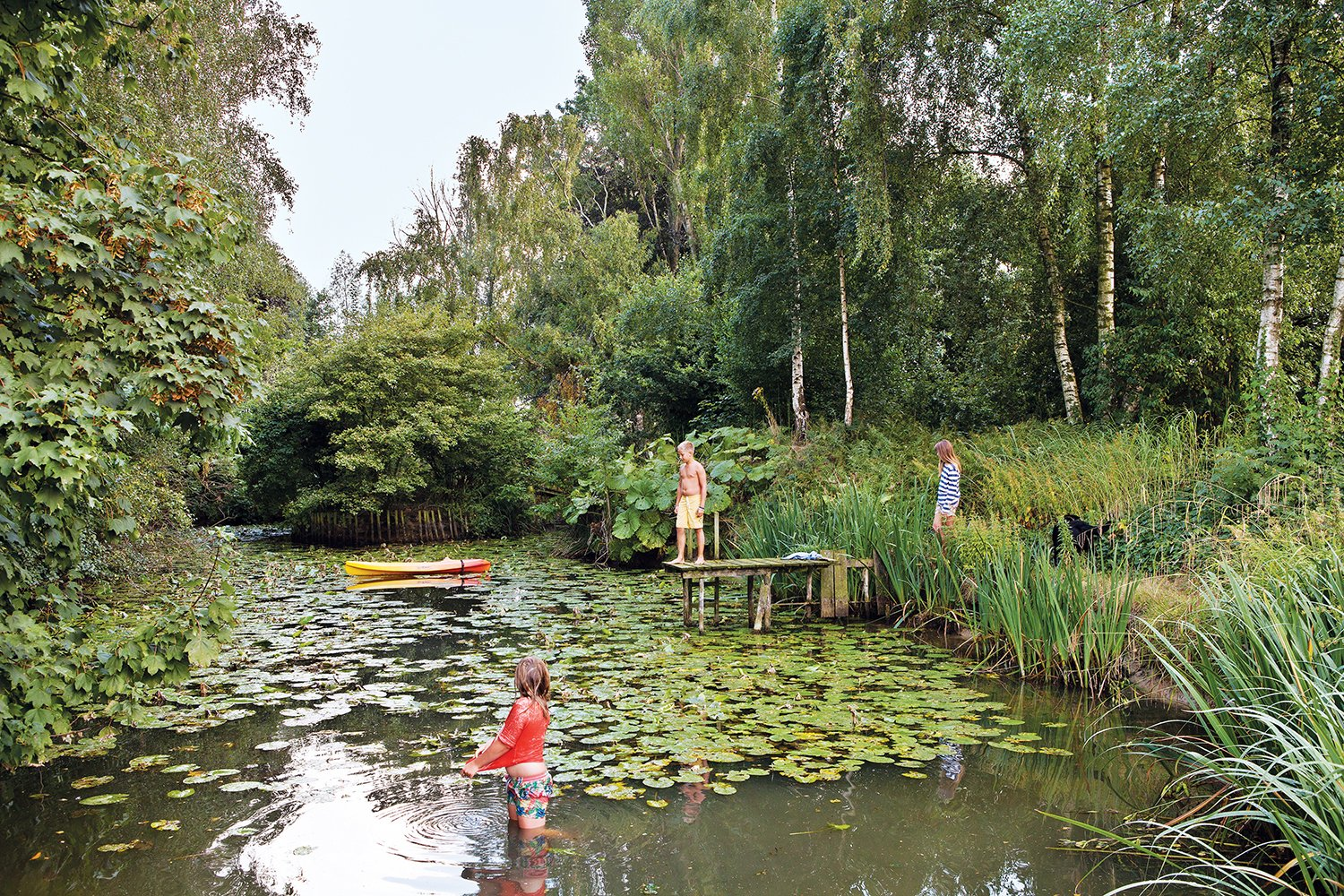 Vandemoortele's young sons and their friends enjoy the house's nearly one-acre site as well, especially the lily pad–stocked pond. Tagged: Outdoor. A Concrete Home in Rural Belgium - Photo 6 of 9