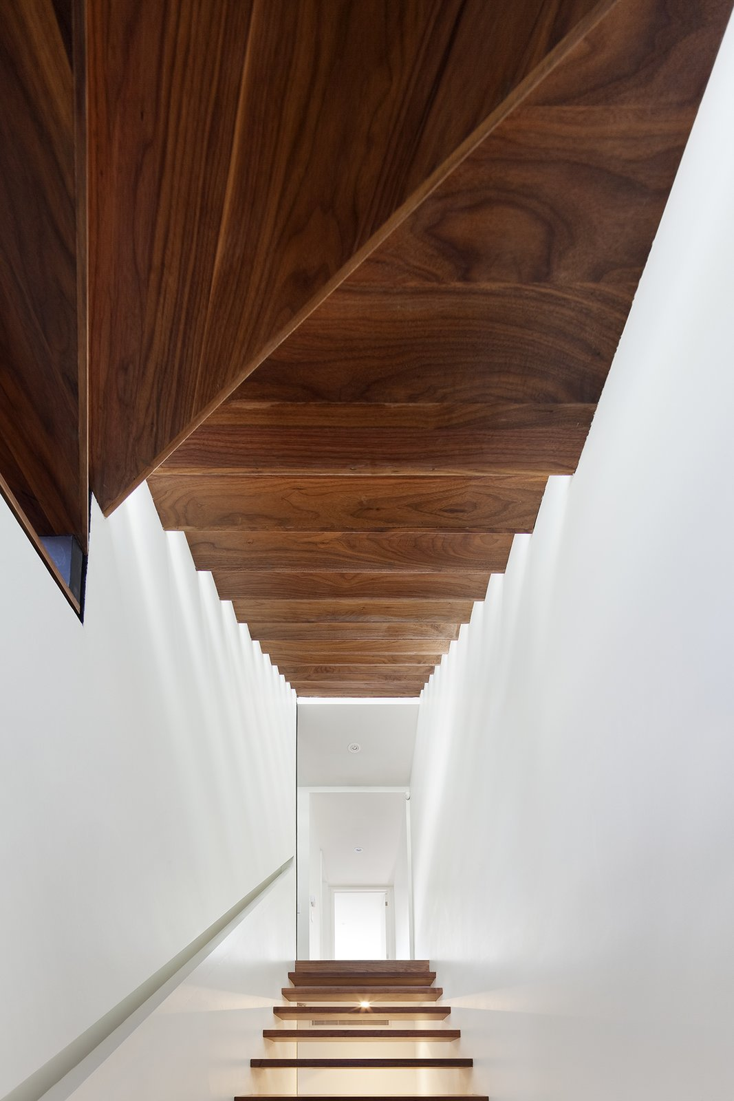 """The original stairs were not lined up vertically, which took up much of the internal space,"" Dubbeldam explains. The architect replaced them with black walnut wood risers that seem to float from the basement to the third floor, allowing light to spill into the house's once-dark interior."