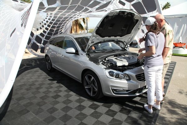 The Volvo V60 Plug-in Hybrid, the world's first Diesel Plug-in Hybrid made its US debut in Palm Springs at the Modern Living Expo. The car shown is currently the only model in the U.S. but is expected to be on sale in 2015.